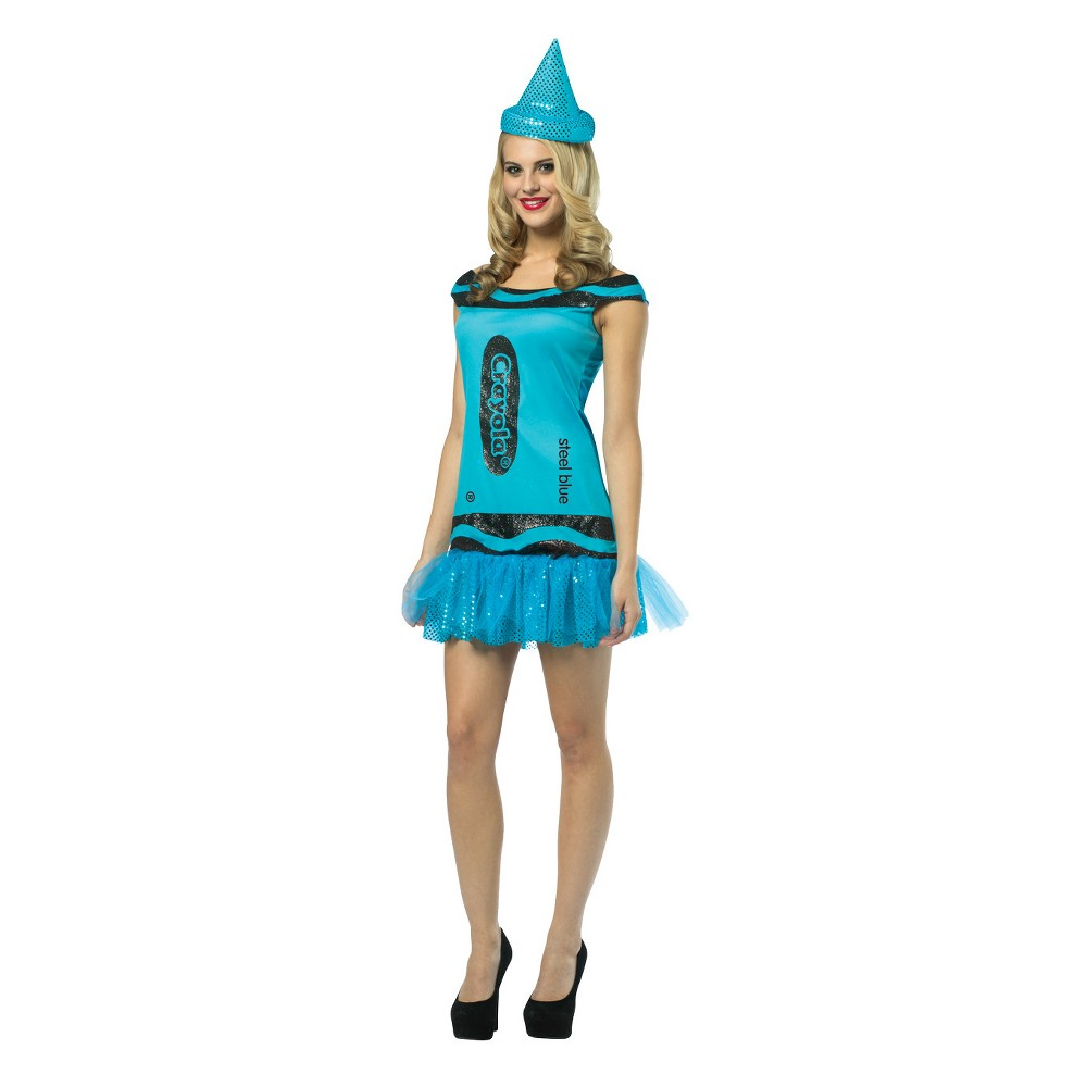 Women's Crayola Steel Blue Glitz Crayon Costume, Multi-Colored