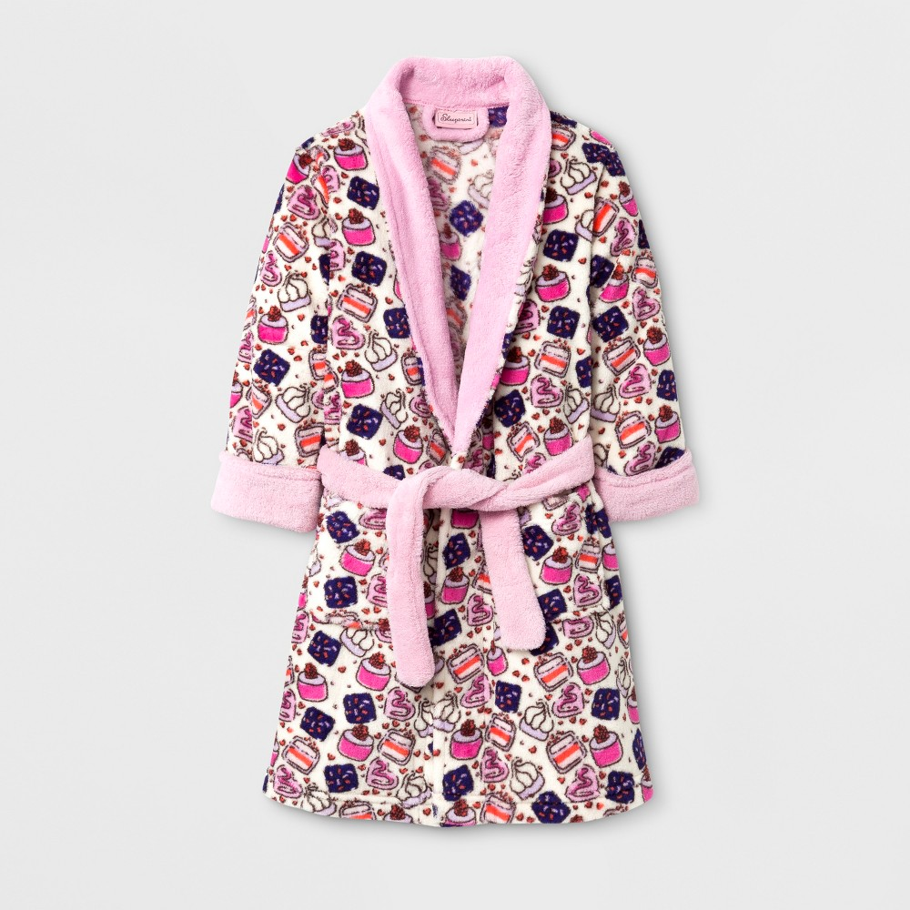 Sleepimini Toddler Girls Cupcake Fleece Robe - Coral 3T, White