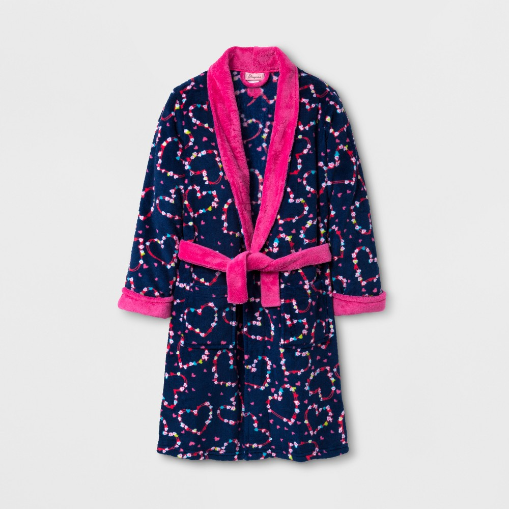 Sleepimini Girls Hearts Fleece Robe - Navy 4, Size: 3T, Blue