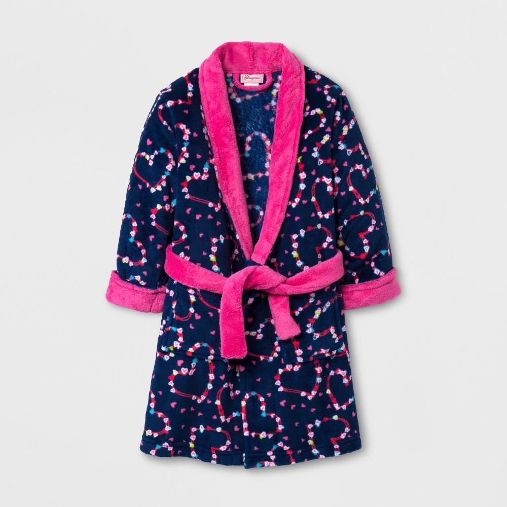Sleepimini Toddler Girls Hearts Fleece Robe - Navy 2T, Blue