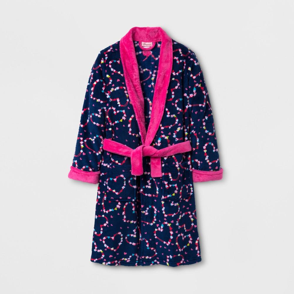 Sleepimini Girls Hearts Fleece Robe - Navy 5, Size: 4T, Blue