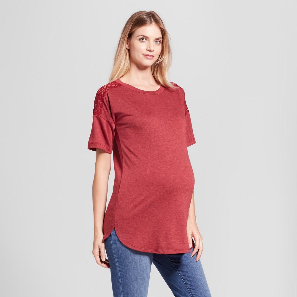 Maternity Crochet Shoulder Tunic Top MaCherie Burgundy (Red) XL, Women's