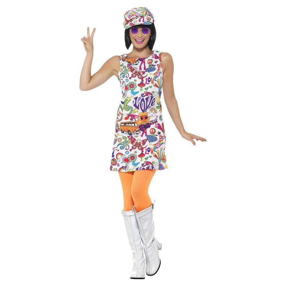 Girls Smiffys 60s Groovy Chick Costume M, Multicolored
