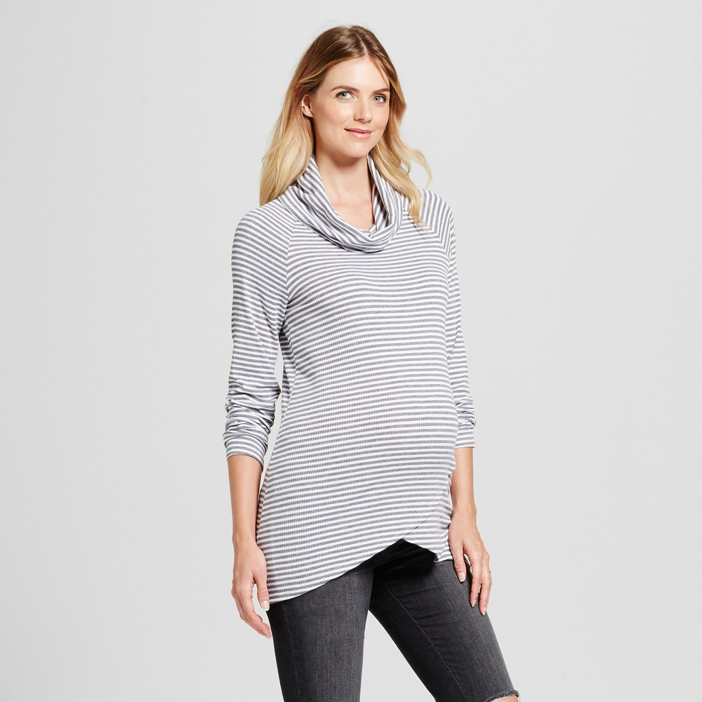 Maternity Long Sleeve Cowl Neck Striped Tulip Hem Top MaCherie Gray/White L, Infant Girls