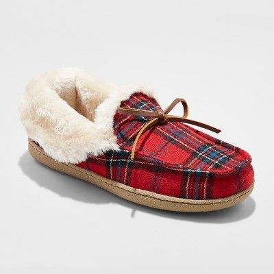 view Women's Rain Plaid Moccasin Slippers - Mossimo Supply Co. Red on target.com. Opens in a new tab.