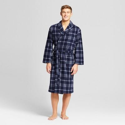 Men's Micro Fleece Robe - Goodfellow & Co™ Blue/Gray Plaid S/M