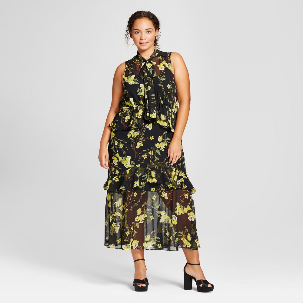 Womens Plus Size Tiered Ruffle Midi Dress - Who What Wear Black/Yellow Floral 3X
