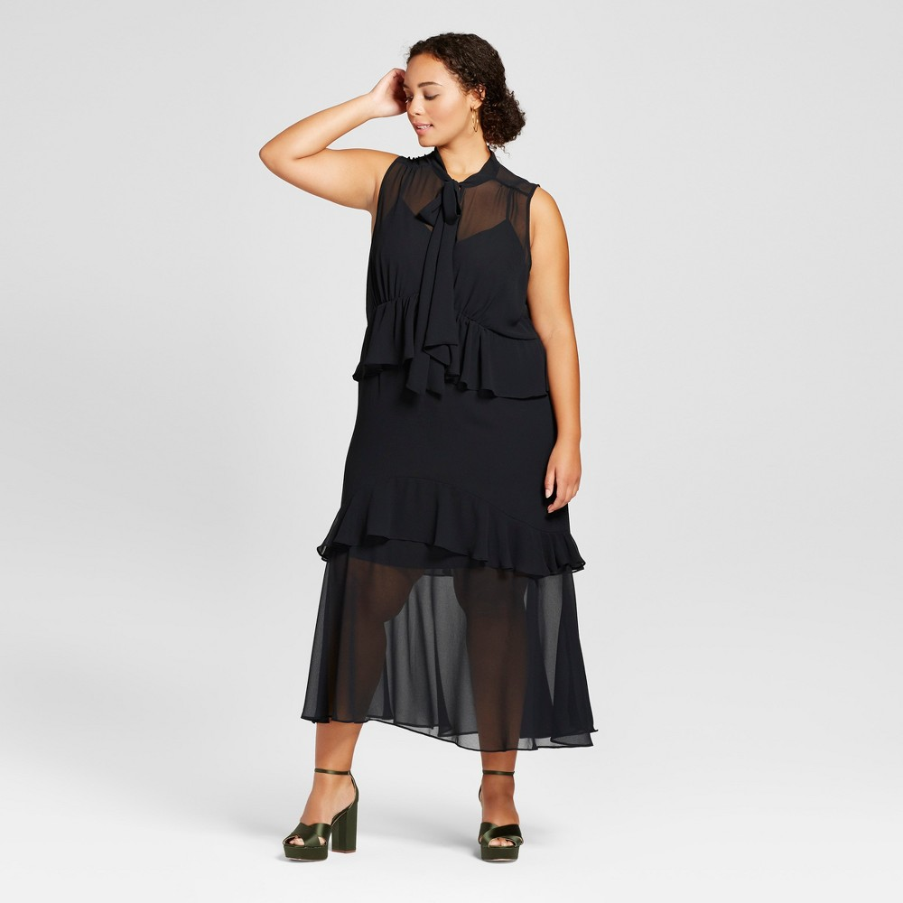 Womens Plus Size Tiered Ruffle Midi Dress - Who What Wear Black 1X