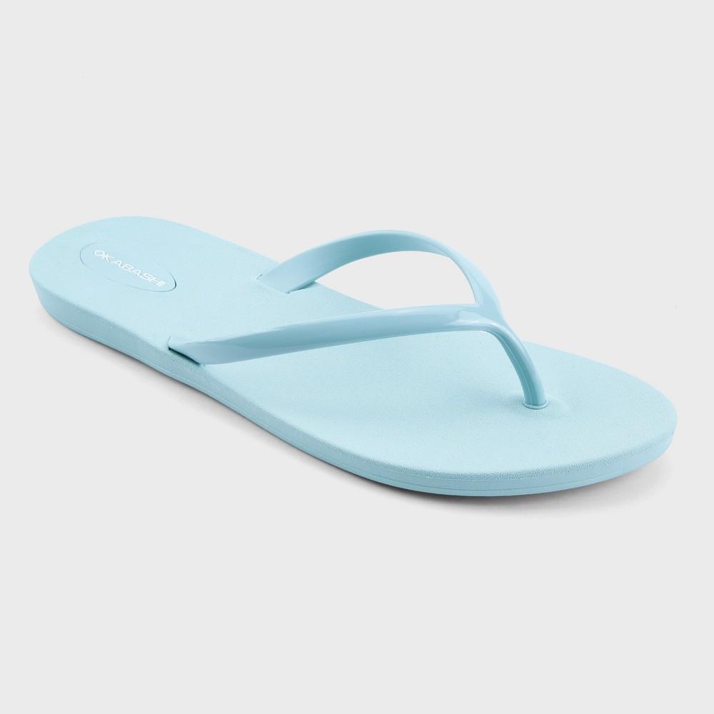 Womens Okabashi Shoreline Flip Flop Sandals - Light Blue 9