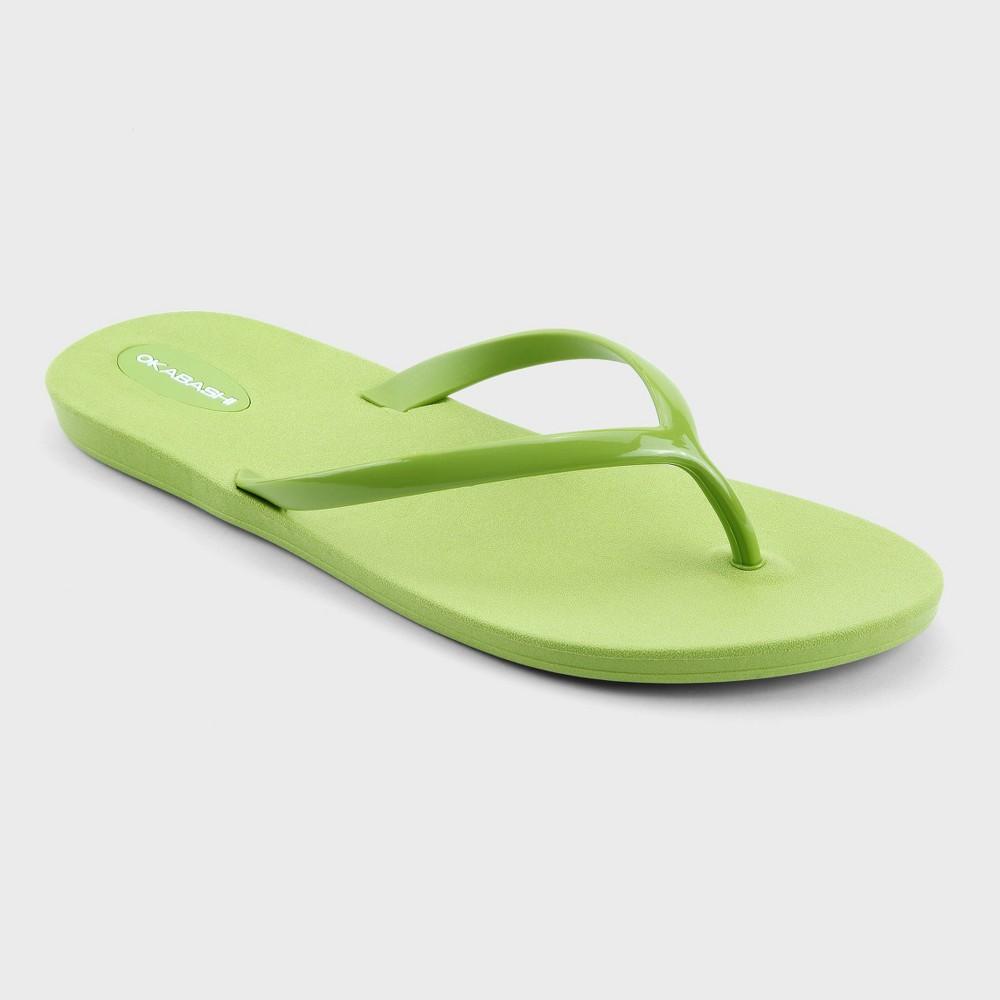 Womens Okabashi Shoreline Flip Flop Sandals - Green 6