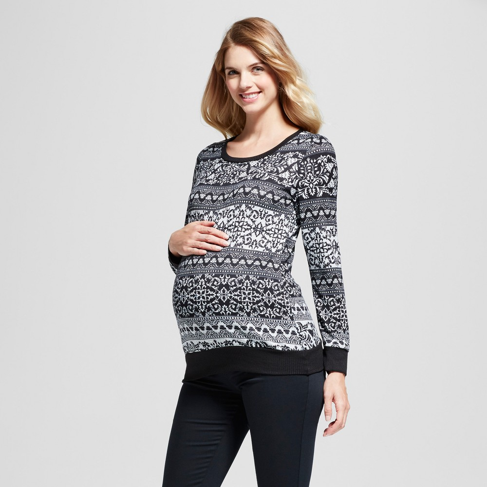 Maternity Tribal Printed Long Sleeve Top MaCherie Black L, Infant Girls