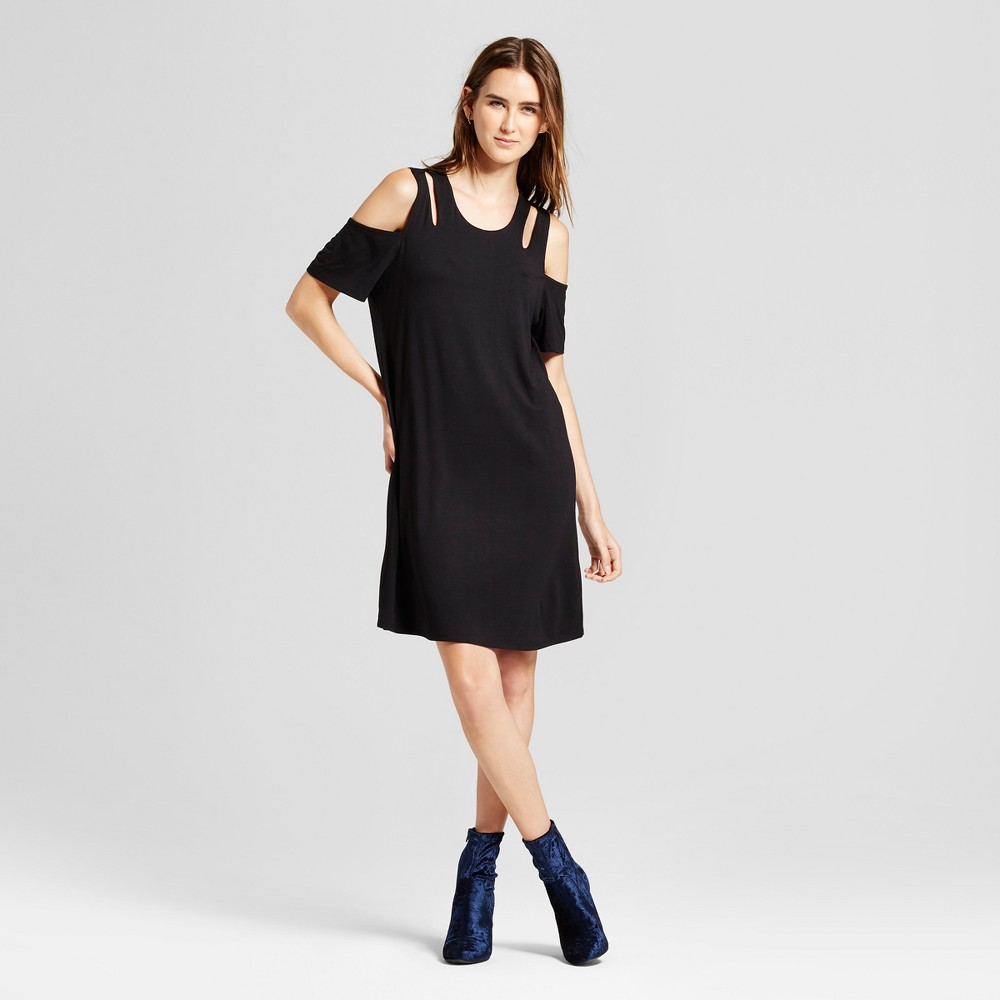 Womens Cold Shoulder Cutout Swing Dress - Alison Andrews Black M