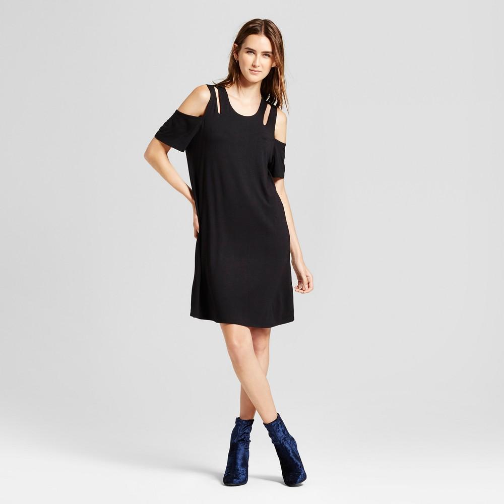 Womens Cold Shoulder Cutout Swing Dress - Alison Andrews Black L
