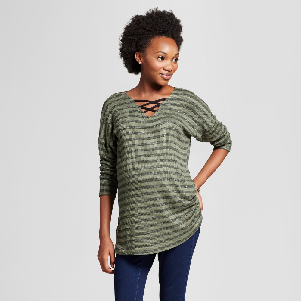 Maternity Criss Cross Striped Print Long Sleeve Top MaCherie Olive/Black XL, Womens, Green Olive
