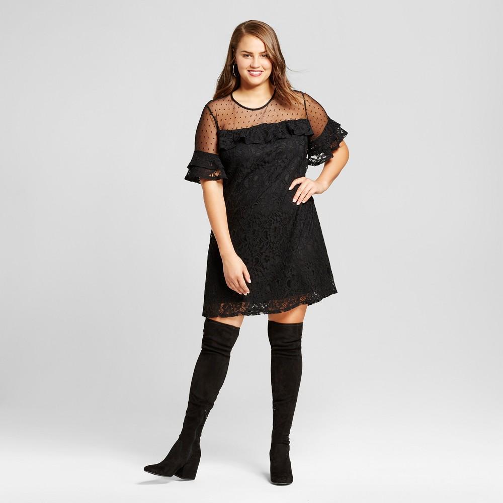 Womens Plus Size Lace Yoke A-Line Dress - 3Hearts (Juniors) Black 3X