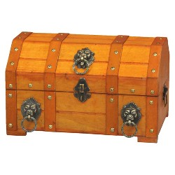 Pirate Treasure Chest with Lion Rings - Natural -Vintiquewise