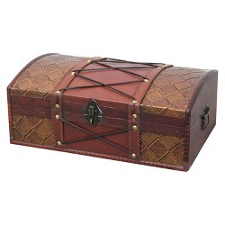 Pirate Treasure Chest/Box with Leather X - Brown -Vintiquewise