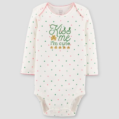 Baby Girls' Kiss me I'm Cute Long Sleeve Bodysuit - Just One You® made by carter's Sand 12M