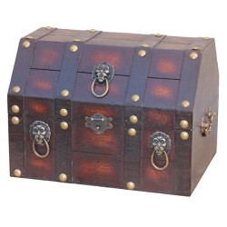Antique Wooden Pirate Treasure Chest with Lion Rings - Brown -Vintiquewise