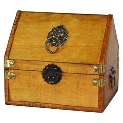 Small Pirate Chest with Lion Rings - Natural -Vintiquewise