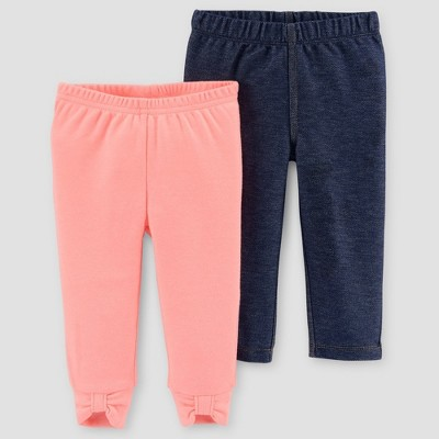 Baby Girls' 2pk Pants/Jeggings - Just One You® made by carter's Blue/Orange NB