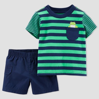 Baby Boys' Frog 2pc Shorts Set - Just One You® made by carter's Green Stripe 18M