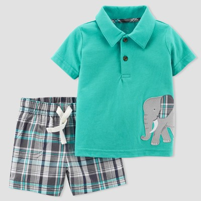 Baby Boys' Elephant 2pc Shorts/Polo Set - Just One You® made by carter's Aqua 12M