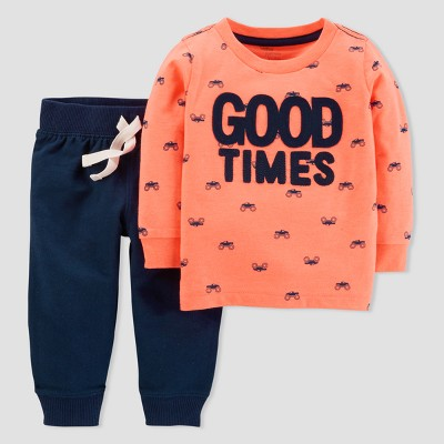 Baby Boys' Good Times 2pc Pants Set - Just One You® made by carter's Orange 12M