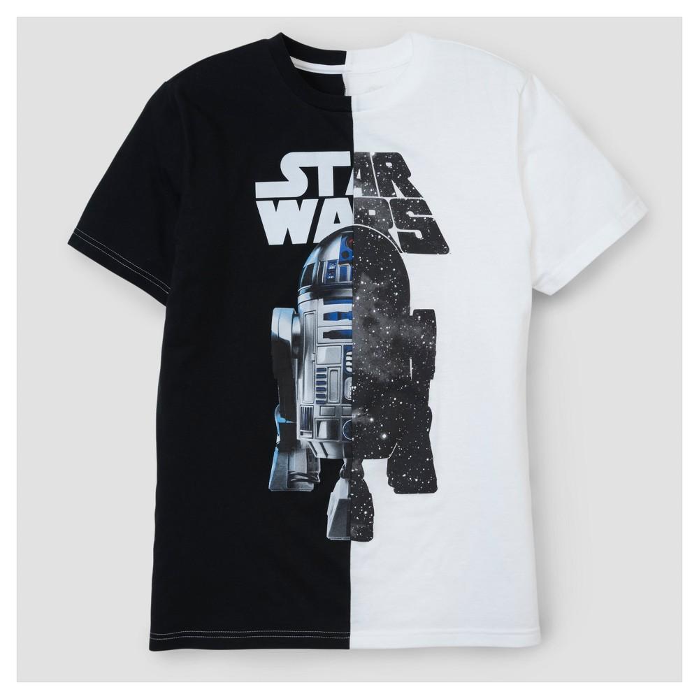 Mens Star Wars R2D2 Split T-Shirt - White/Black S