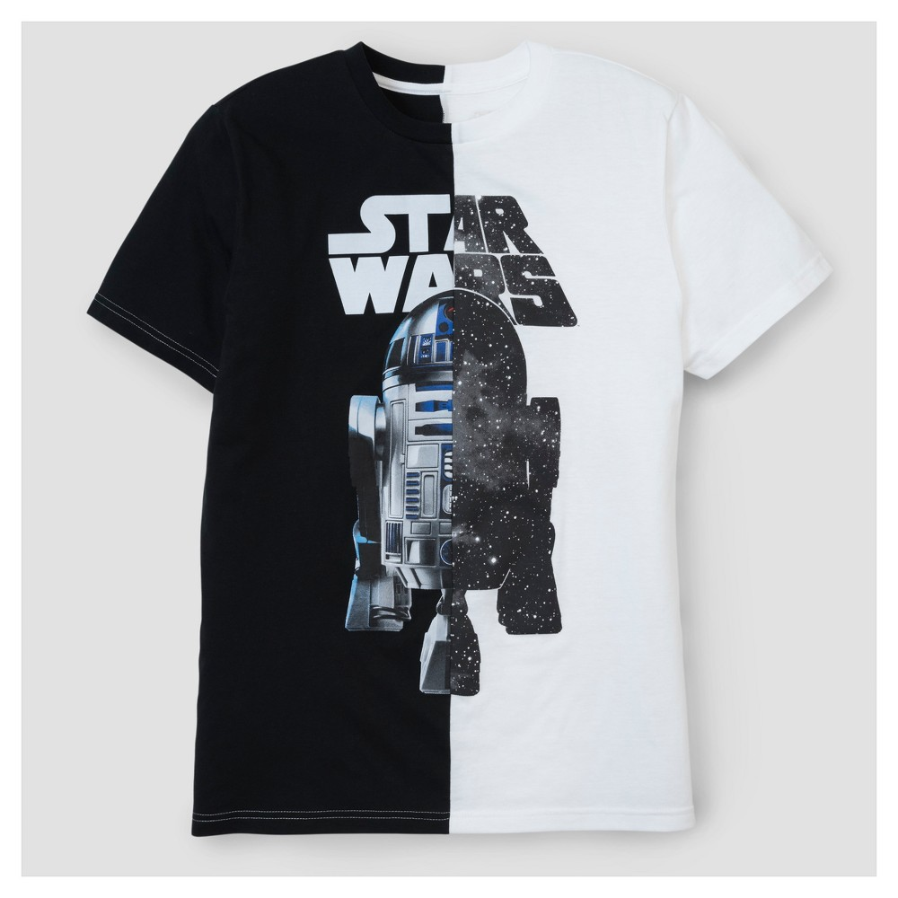Mens Star Wars R2D2 Split T-Shirt - White/Black XL