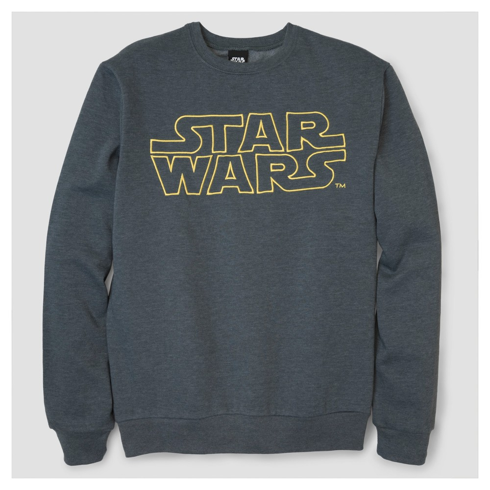 Mens Star Wars Embroidered Logo Crew Fleece Pullover Sweater - Charcoal Heather L, Gray