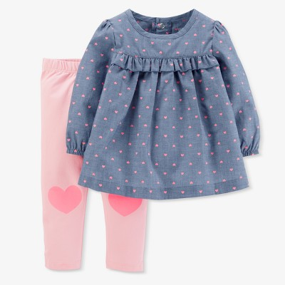Baby Girls' Hearts 2pc Chambray Pants Set - Just One You® made by carter's Blue 9M