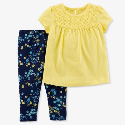 Baby Girls' Floral 2pc Pants Set - Just One You™ Made by Carter's® Yellow/Blue 6M