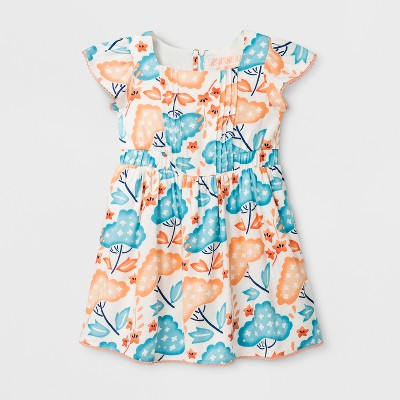Toddler Girls' Ruffle Sleeve A Line Dress - Genuine Kids™ from OshKosh® Coral 12M
