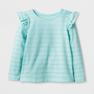 Toddler Girls' Long Sleeve T-Shirt - Cat & Jack™ Aqua 18M