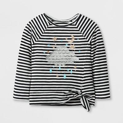 Toddler Girls' Long Sleeve Stripe T-Shirt - Cat & Jack™ Black/White 18M
