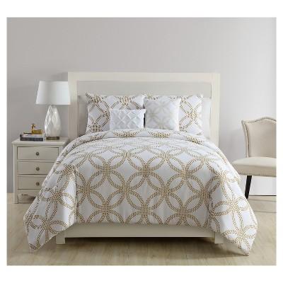 White & Gold Metallic Chloe Comforter Set (Full/Queen)5pc - VCNY