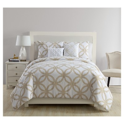White & Gold Metallic Chloe Comforter Set (King)5pc - VCNY