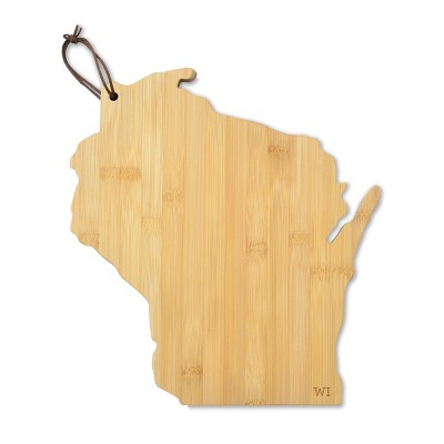 WI State Outline Cheese Board Bamboo 10.5 x6  - Mara Mi