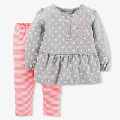 Baby Girls' Bunny 2pc Pants Set - Just One You® made by carter's Gray/Pink 12M