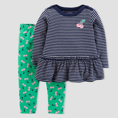 Baby Girls' Cherries 2pc Pants Set - Just One You® made by carter's Navy/Green NB