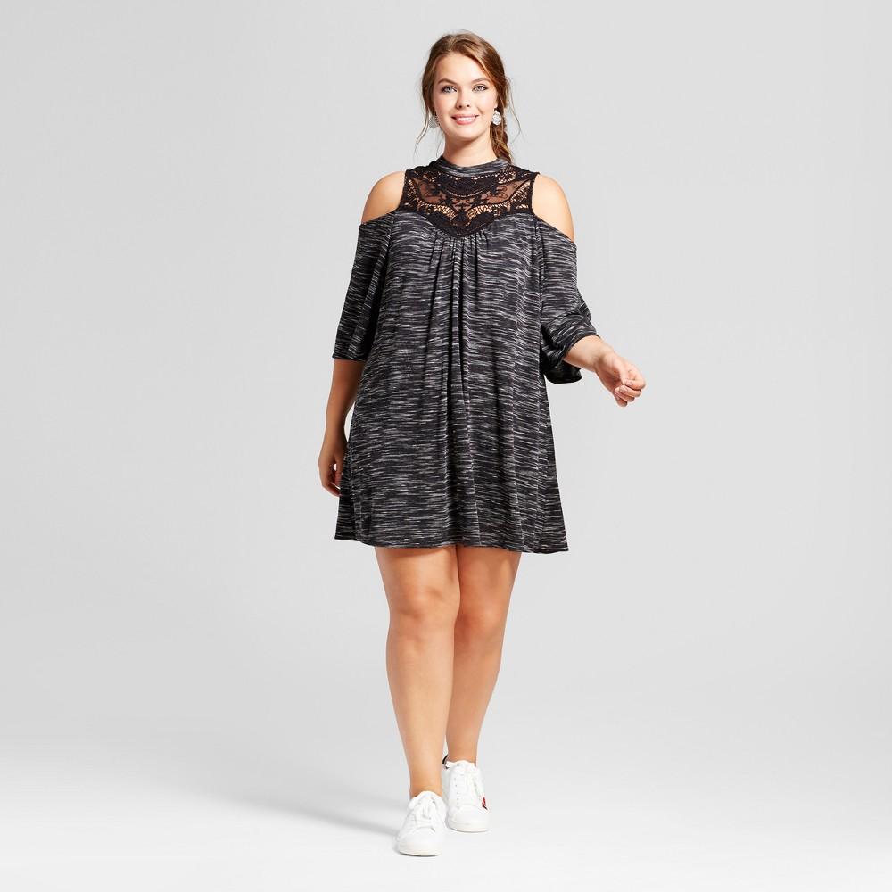Womens Plus Size Spacedye Cold Shoulder A-Line Dress - 3Hearts (Juniors) Black 2X