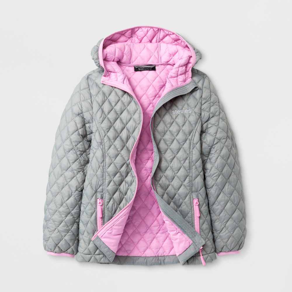 Stevies Girls' Puffer Jacket - Gray XL