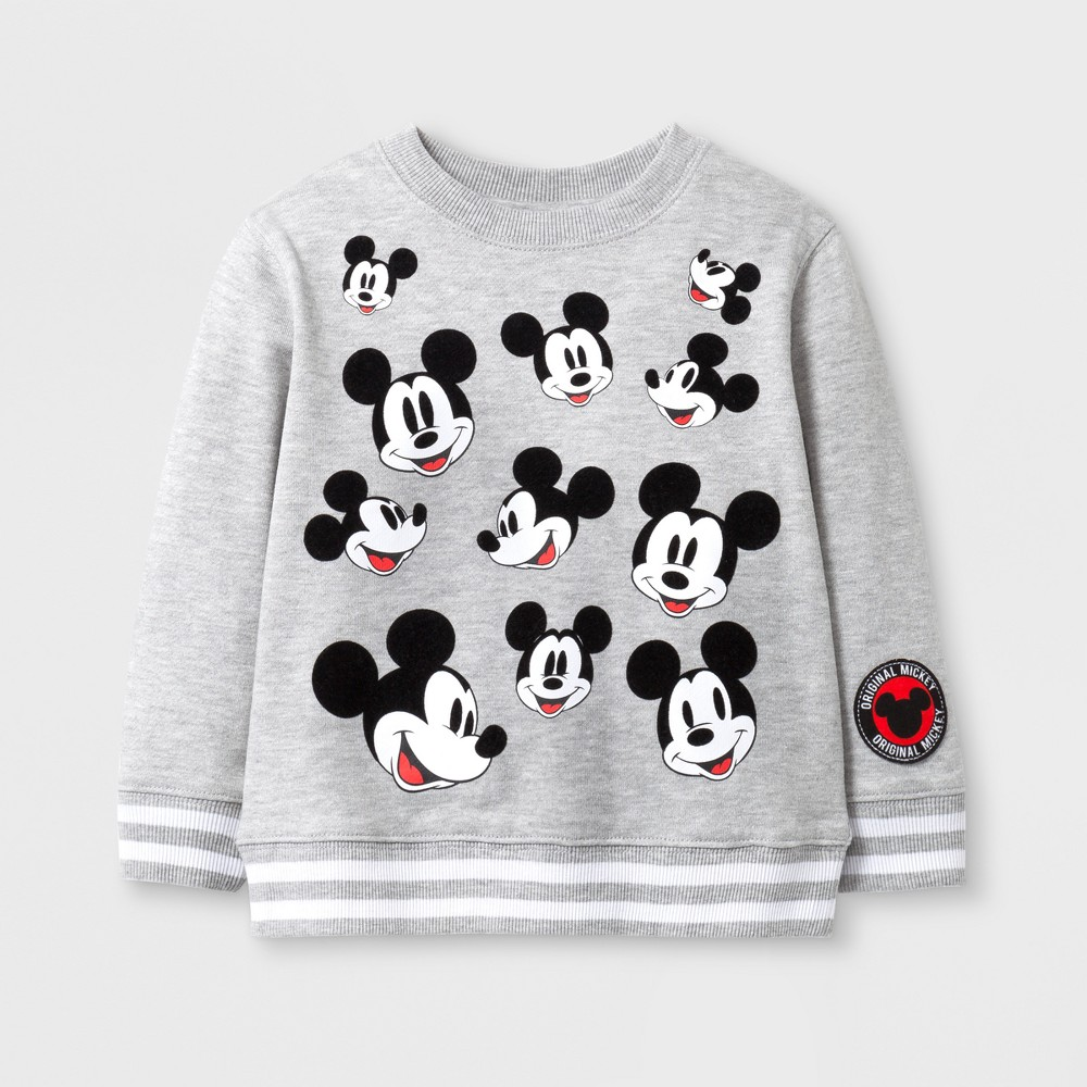 Toddler Boys Disney Mickey Mouse Face with Flocked Ears French Terry Crew Neck Sweatshirt - Gray - 2T