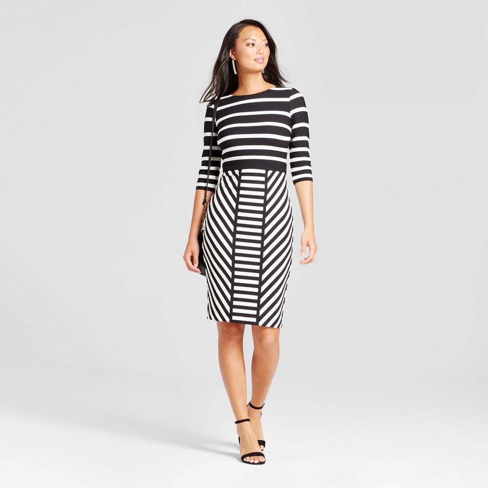 Womens Striped Midi Sheath Scuba Dress - Melonie T Black/Beige 12