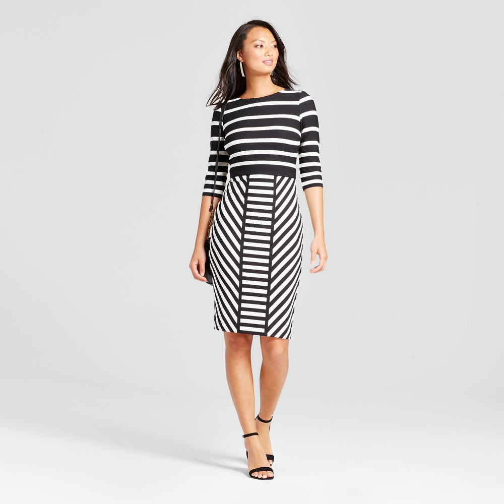 Womens Striped Midi Sheath Scuba Dress - Melonie T Black/Beige 8