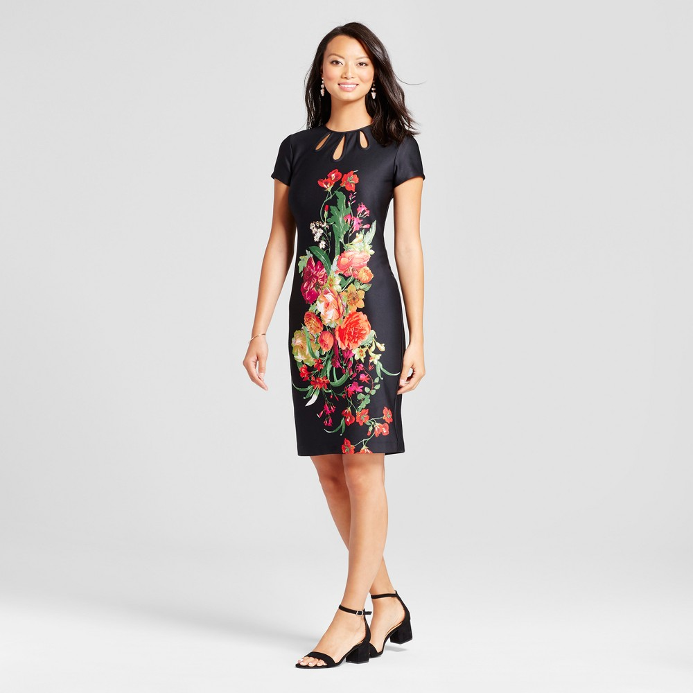 Womens Floral Midi Sheath Scuba Dress with Cut Outs - Melonie T Black 10