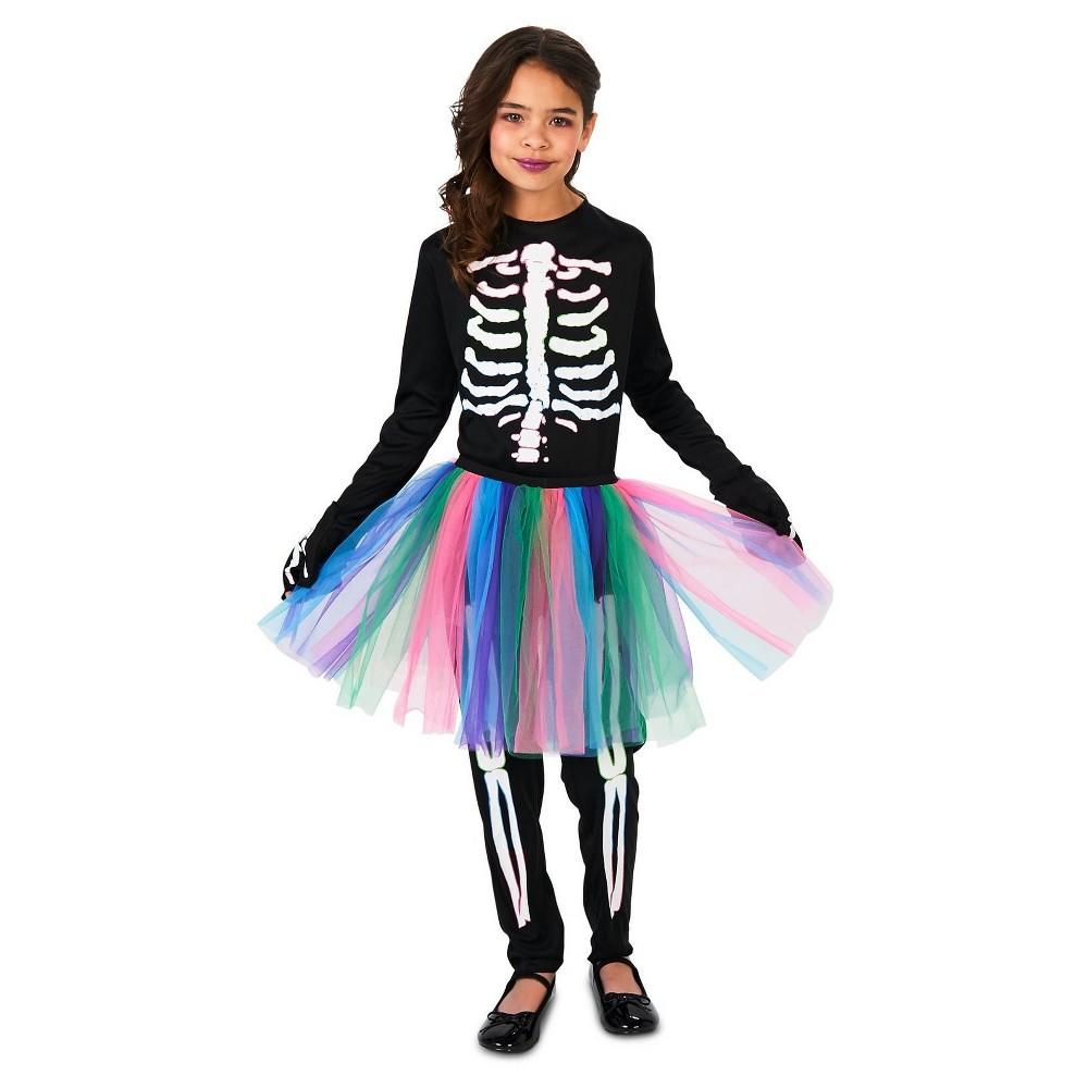 Girls Skeleton Tutu Costume M (8-10), Multicolored