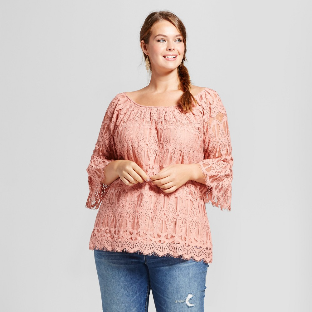 Womens Plus Size Lace Bell-Sleeve Blouse - 3Hearts (Juniors) Pink 2X