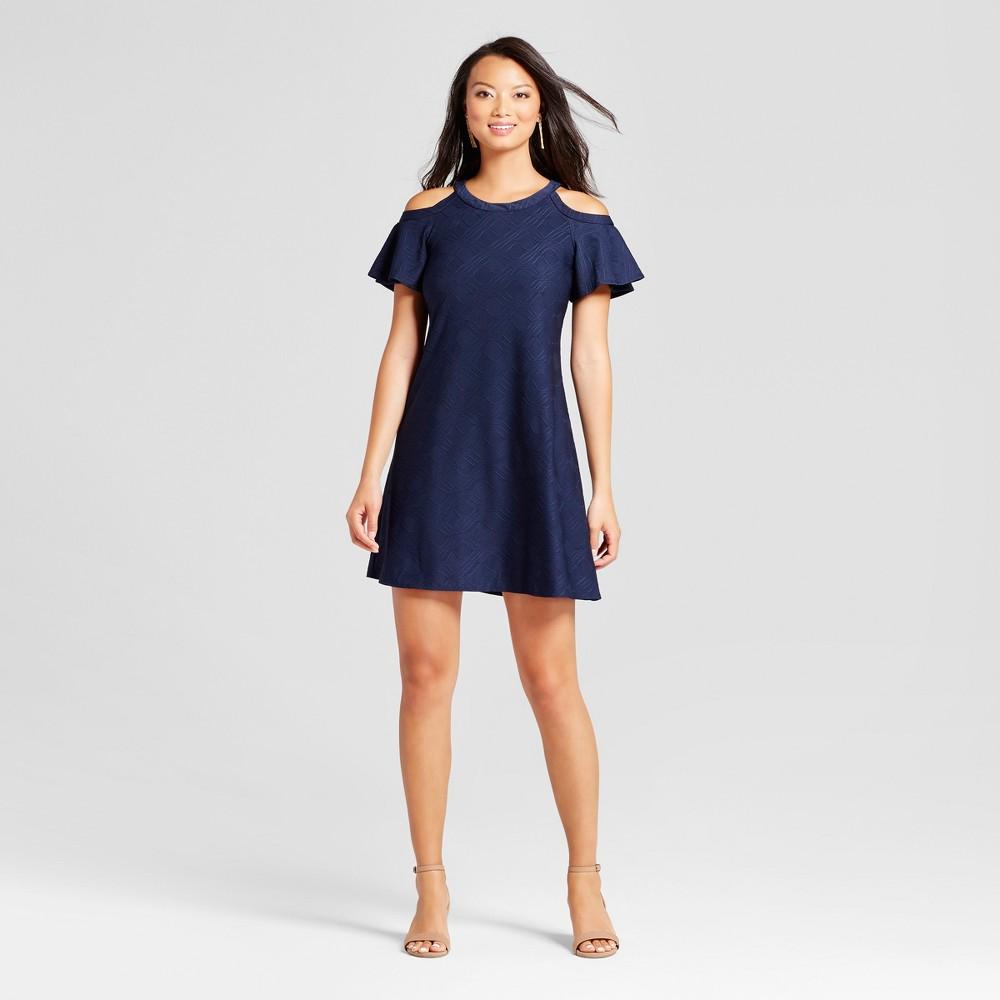 Womens Cold Shoulder Trapeze Knit Dress - Melonie T Navy 4, Blue